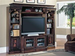 Huntington 4 Piece Space Saver Entertainment Wall Unit in Chestnut Finish by Parker House - HUN-415X-4