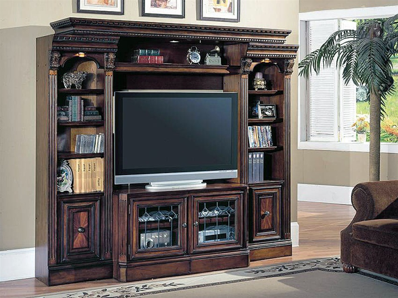 Huntington 4 Piece Space Saver Entertainment Wall Unit In Chestnut Finish  By Parker House   HUN 415X 4
