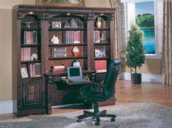 Huntington 4 Piece Small Library Wall with Desk in Chestnut Finish by Parker House - HUN-460-2-4
