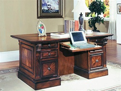 Huntington Double Pedestal Executive Desk in Chestnut Finish by Parker House - HUN-480-3