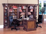 Huntington 7 Piece Dual Peninsula Desk Wall Unit in Chestnut Finish by Parker House - HUN-490-2-7