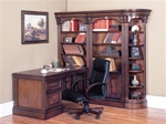 Huntington 5 Piece Corner Peninsula Desk Wall Unit in Chestnut Finish by Parker House - HUN-490-2-L