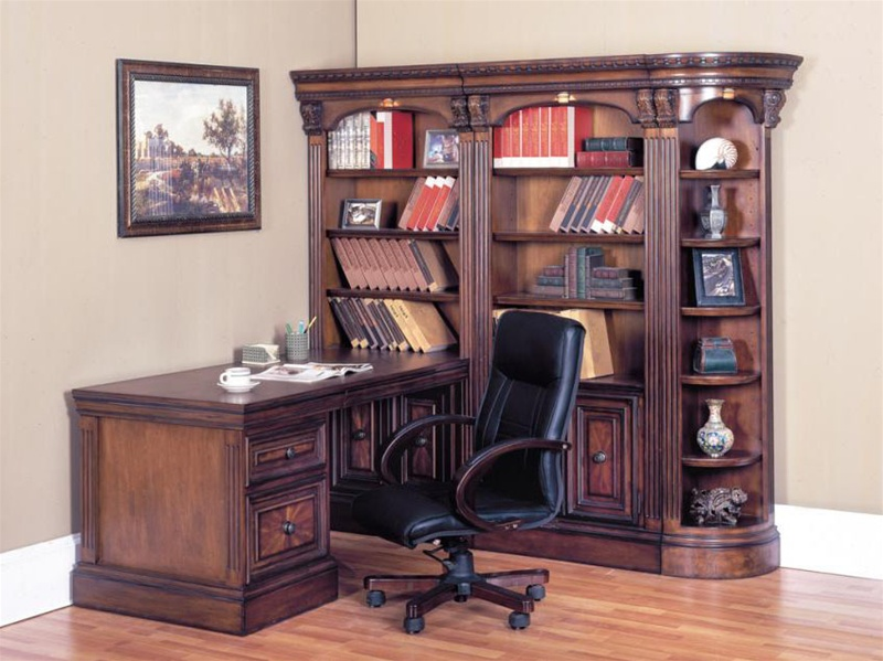 Huntington 5 Piece Corner Peninsula Desk Wall Unit In Chestnut Finish By Parker  House ...