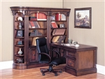Huntington 5 Piece Corner Peninsula Desk Wall Unit in Chestnut Finish by Parker House - HUN-490-2-R