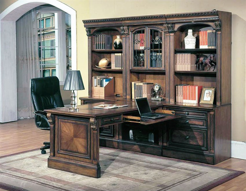 Huntington 7 Piece Peninsula Desk Wall Unit In Chestnut Finish By Parker House Hun 505