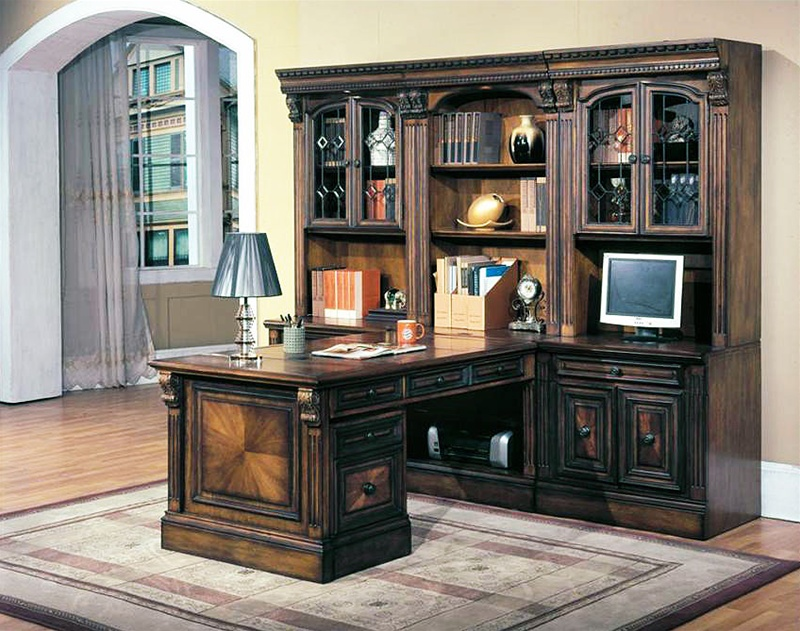 Huntington 8 Piece Peninsula Desk Wall Unit In Chestnut Finish By Parker House Hun 560