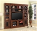 Leonardo 4 Piece 60-Inch TV Console Entertainment in Antique Vintage Dark Chestnut Finish by Parker House - LEO-412-3