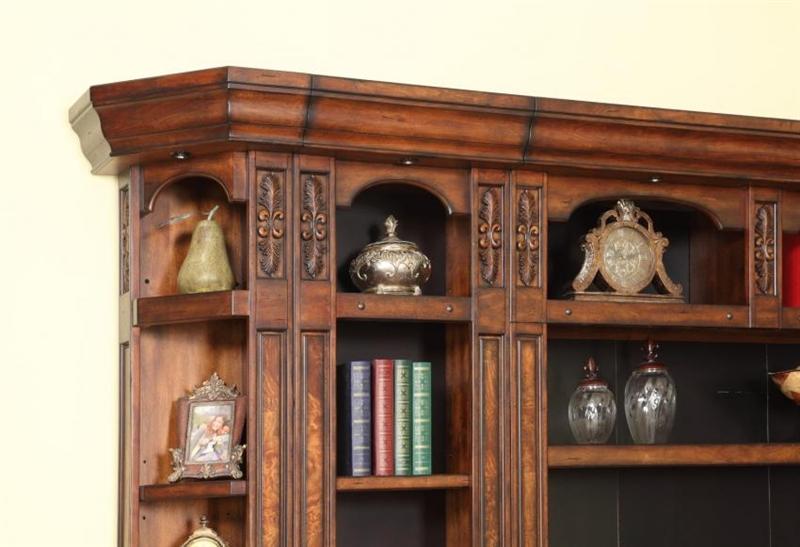 Leonardo 3 Piece Reversible Corner Bookcase Library Wall In Antique Vintage Dark Chestnut Finish