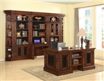 Leonardo 7 Piece Home Office Set in Antique Vintage Dark Chestnut Finish by Parker House - LEO-430-S