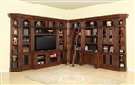 Leonardo 11 Piece Entertainment Bookcase Library Wall with Desk in Antique Vintage Dark Chestnut Finish by Parker House - LEO-460-2-11