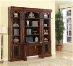 Leonardo 3 Piece Bookcase Library Wall with Desk in Antique Vintage Dark Chestnut Finish by Parker House - LEO-476-2-3