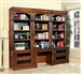 Leonardo 6 Piece Bookcase Library Wall with Desk in Antique Vintage Dark Chestnut Finish by Parker House - LEO-476-2-6