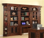 Leonardo 6 Piece Bookcase Library Wall with Desk in Antique Vintage Dark Chestnut Finish by Parker House - LEO-476-2-6D