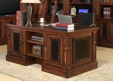 Leonardo Double Pedestal Executive Desk in Antique Vintage Dark Chestnut  Finish by Parker House - LEO-480-3