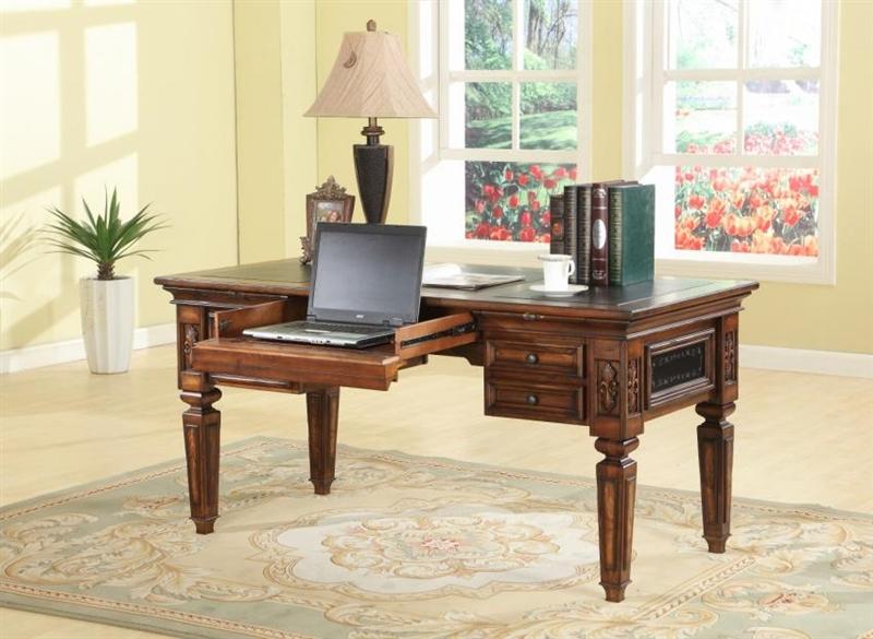 leonardo writing desk in antique vintage dark chestnut finish