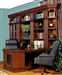 Leonardo 8 Piece Bookcase Library Wall with Peninsula Desk in Antique Vintage Dark Chestnut Finish by Parker House - LEO-490-8