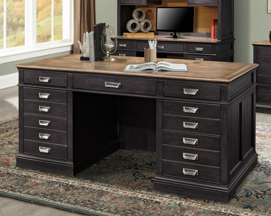 Lincoln Park Executive Desk In Vintage Ash Finish By Parker House Lin 480 3