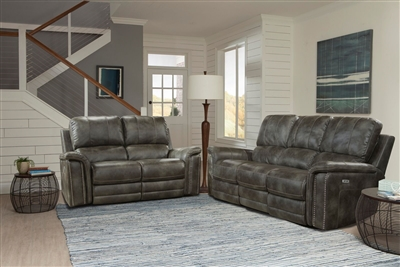 Belize 2 Piece Power Reclining Set with Power Headrests and USB Ports in Ash Fabric by Parker House - MBEL-832PH-ASH-SET