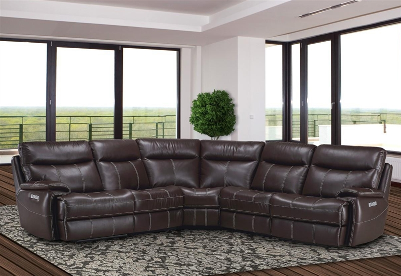 Dylan Mahogany 5 Piece Modular Reclining Sectional by Parker House