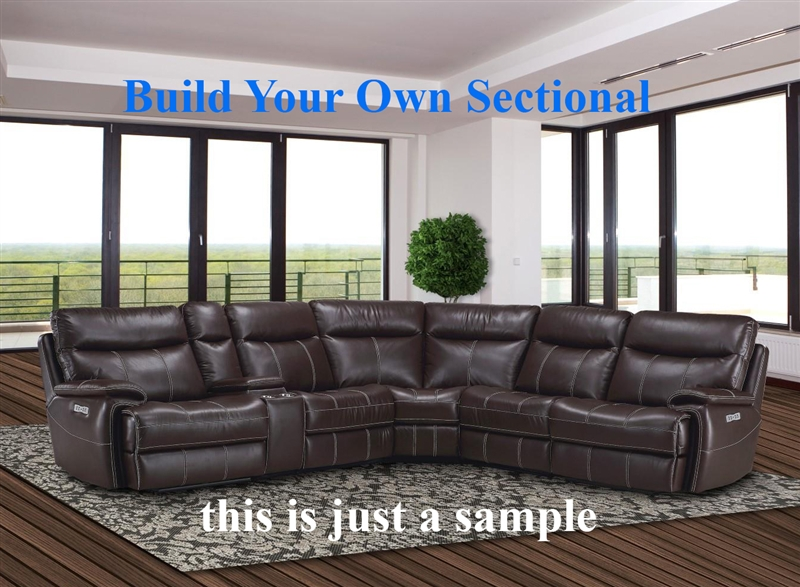 Dylan build your own mahogany reclining sectional by for Build your own house price