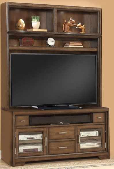 meridien 2 piece 60 inch tv console entertainment center in burnished dark ash finish by parker. Black Bedroom Furniture Sets. Home Design Ideas