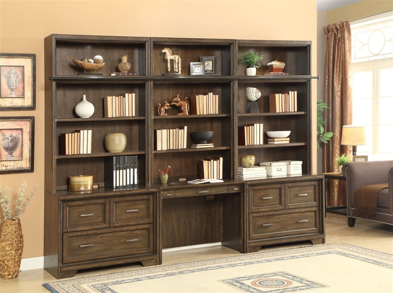 Meridien 6 Piece Library Desk Lateral File Bookcase Wall in ...