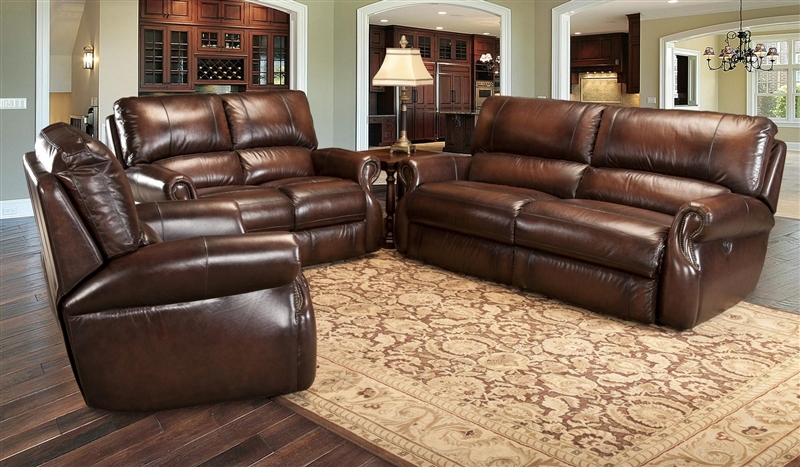 Hawthorne Power Recliner In Brown Tri Tone Leather By Parker House    MHAW 812P BR