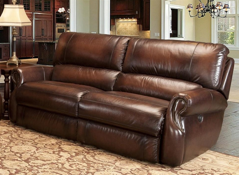 Hawthorne Power Dual Reclining Sofa In Brown Tri Tone Leather By