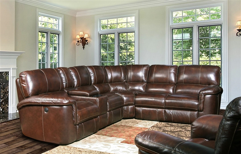 Hitch 6 Piece Reclining Sectional In Cigar Leather By Parker House Mhit Packm Ci
