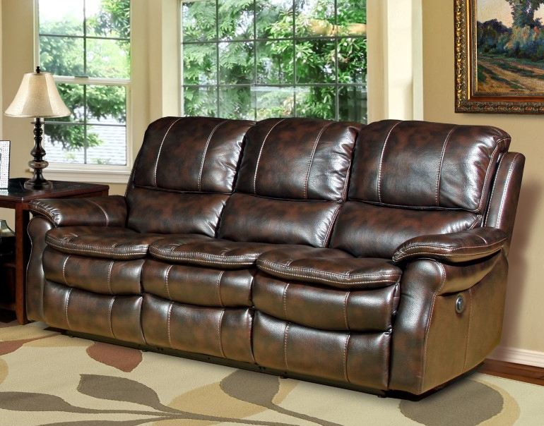 Nice Juno Power Reclining Sofa In Nutmeg Synthetic Leather By Parker House    MJUN 832P NU