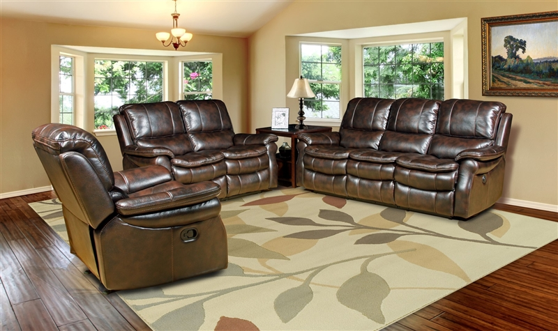 Juno Power Reclining Sofa in Nutmeg Synthetic Leather by Parker House -  MJUN-832P-NU