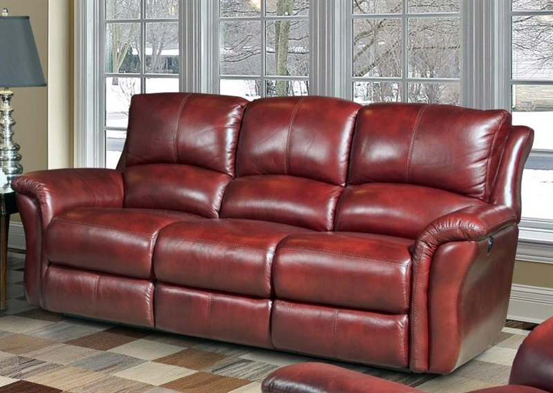 Lewis Power Dual Reclining Sofa in Lipstick Leather by Parker