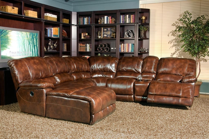 Mars Coffee Leather 6 Piece Reclining Sectional By Parker House Mmar 811 Co Sec6
