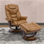 Monarch Swivel Recliner with Ottoman in Butterscotch Leather by Parker House - MMON-212S-BUT