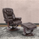Monarch Swivel Recliner with Ottoman in Robust Leather by Parker House - MMON-212S-ROB