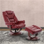 Monarch Swivel Recliner with Ottoman in Rouge Leather by Parker House - MMON-212S-ROU
