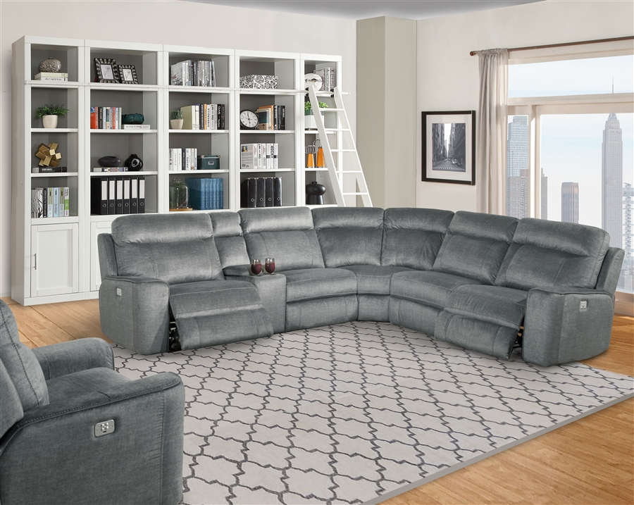 Parthenon 6 Piece Power Reclining Sectional With Power Headrests
