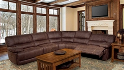 Pegasus 5 Piece Power Reclining Sectional in Dark Kahlua Fabric by Parker House - MPEG-811LP-DK-5