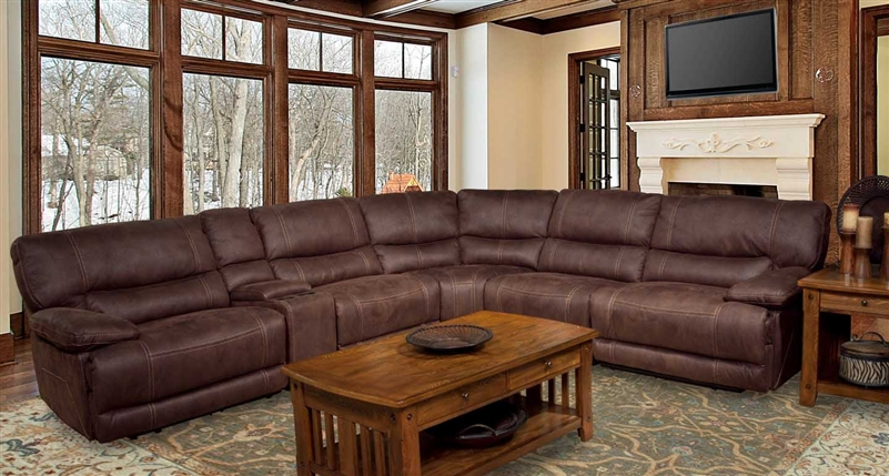 Pegasus 6 Piece Power Reclining Sectional in Dark Kahlua Fabric by Parker House - MPEG-811LP-DK-6 & Pegasus 6 Piece Power Reclining Sectional in Dark Kahlua Fabric by ... islam-shia.org