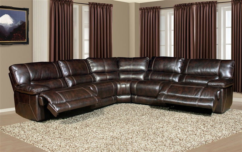 5 Piece Power Reclining Sectional in Nutmeg Synthetic Leather by