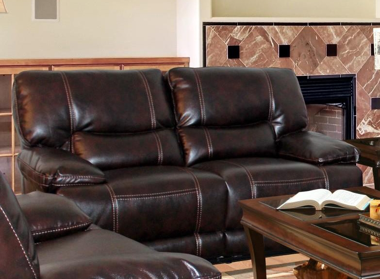 pegasus power dual reclining loveseat in nutmeg synthetic leather by parker house mpeg822pnu