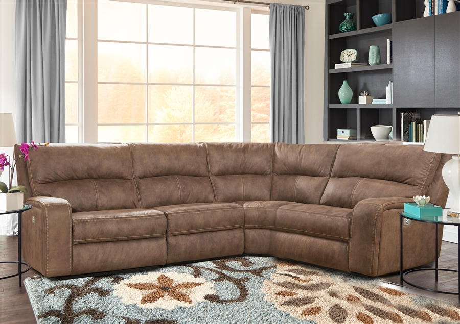 Polaris 4 Piece Power Reclining Sectional With Power Headrests And