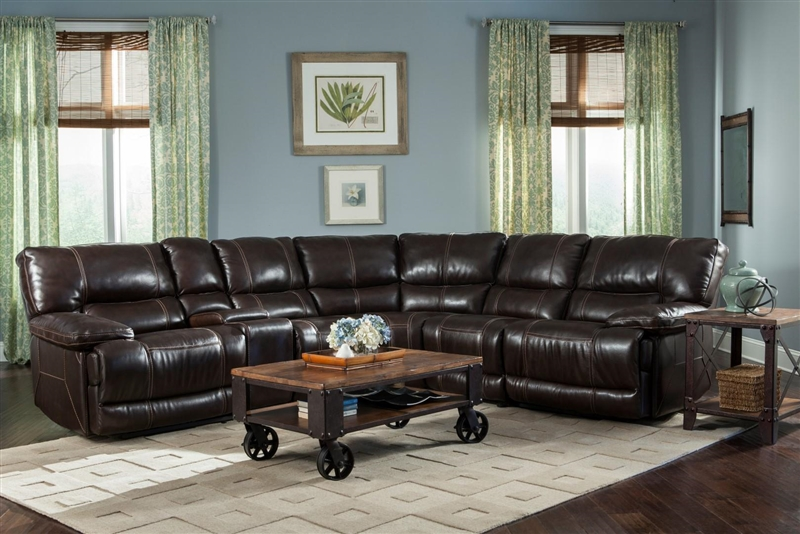 socrates 6 piece power reclining sectional in mink leather