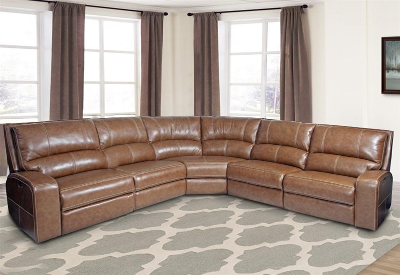 Swift 5 Piece Power Reclining Sectional With Power Headrest And