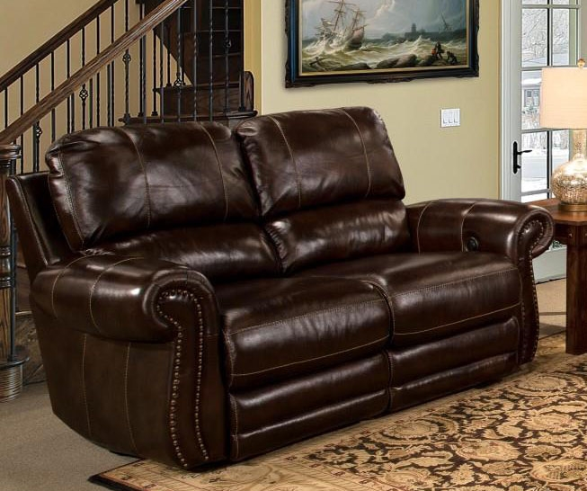 thurston power dual reclining loveseat in havana leather by parker house mthu822pha