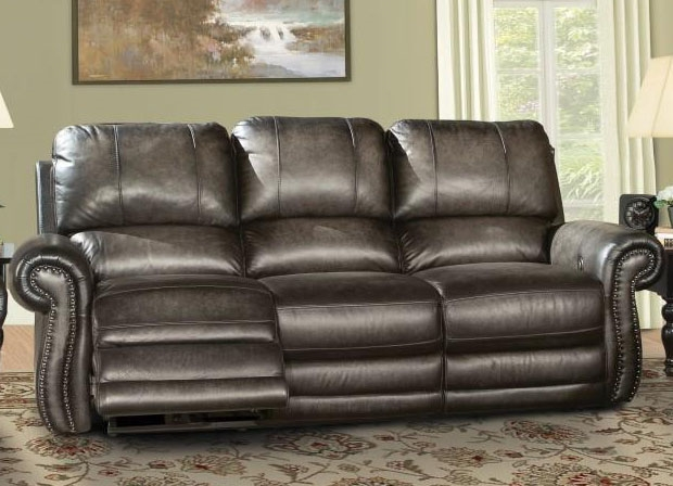Thurston Power Dual Reclining Sofa In Shadow Leather By Parker House    MTHU 832P SH