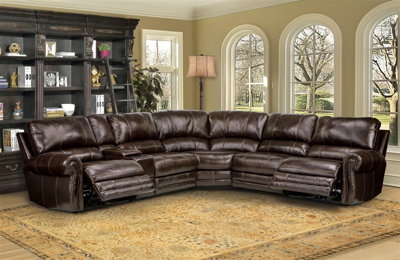 Thurston 6 Piece Reclining Sectional In Havana Leather By Parker House Mthu Packa Ha