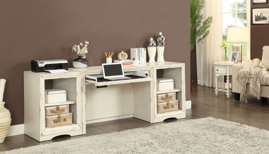 Nantucket 3 Piece Modular Home Office Desk In Vintage Burnished Artisan  White Finish By Parker House ...