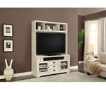Nantucket 63-Inch TV Console Entertainment Center in Vintage Burnished Artisan White Finish by Parker House - NAN-905