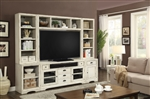 Nantucket 6 Piece 63-Inch TV Console Modular Bookcase Home Entertainment Library Wall in Vintage Burnished Artisan White Finish by Parker House - NAN-912-06